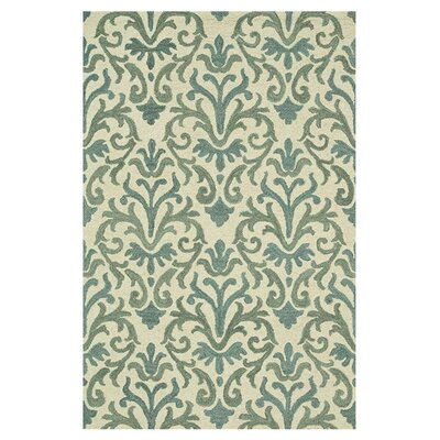 Taylor Hand-Tufted Ivory/Light Blue Area Rug Rug Size: 36 x 56