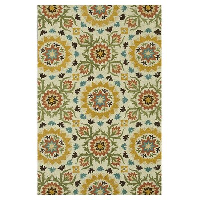 Taylor Hand-Tufted Ivory/Green Area Rug Rug Size: 36 x 56