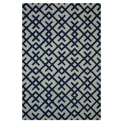 Weston Hand-Tufted Ivory/Navy Area Rug Rug Size: 2'3
