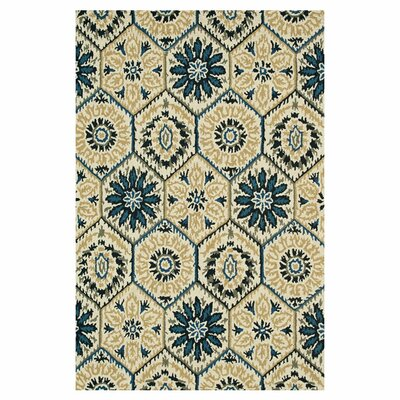 Durgin Hand-Tufted Ivory/Navy Area Rug Rug Size: Rectangle 36 x 56