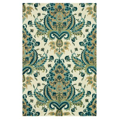 Taylor Hand-Tufted Blue/Gold Area Rug Rug Size: 36 x 56