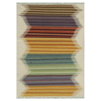 Santana Hand-Woven Yellow/Beige Area Rug Rug Size: 76 x 96