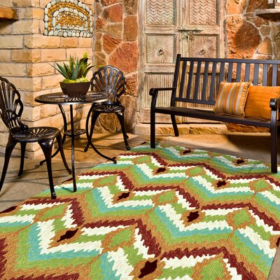 Enzo Hand-Hooked Blue/Brown/Green Indoor/Outdoor Area Rug Rug Size: 76 x 96