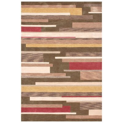 Abacus Hand-Woven Brown/Tan Area Rug Rug Size: 36 x 56