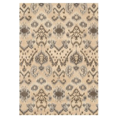 Leyda Hand-Tufted Cream/Gray Area Rug Rug Size: 36 x 56