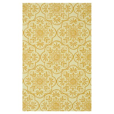 Venice Beach Hand-Hooked Ivory/Buttercup Indoor/Outdoor Area Rug Rug Size: 76 x 96
