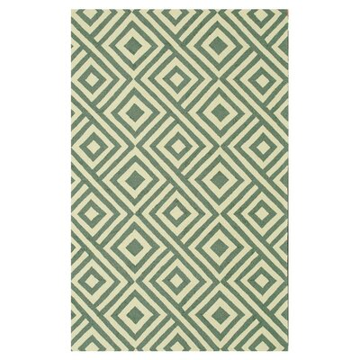 Venice Beach Hand-Hooked Slate/Ivory Indoor/Outdoor Area Rug Rug Size: Rectangle 3'6