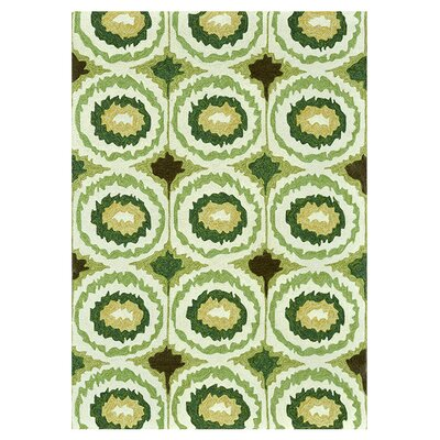 Mosher Hand-Hooked Green Indoor/Outdoor Area Rug Rug Size: Rectangle 5' x 7'6