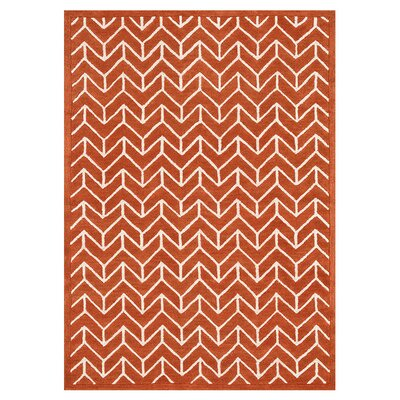 Brighton Hand-Tufted Tangerine Area Rug Rug Size: 36 x 56