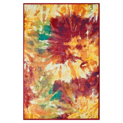 Lyon Red/Yellow Area Rug Rug Size: 39 x 52