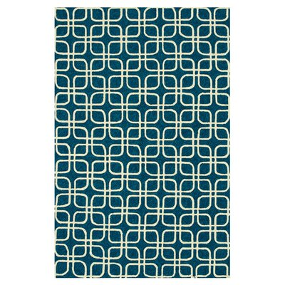 Danko Hand-Hooked Blue/Ivory Indoor/Outdoor Area Rug Rug Size: Rectangle 23 x 39