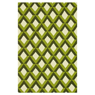 Venice Beach Hand-Hooked Green/Ivory Indoor/Outdoor Area Rug Rug Size: 36 x 56