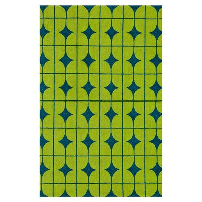 Venice Beach Hand-Hooked Lime/Blue Indoor/Outdoor Area Rug Rug Size: 5 x 76