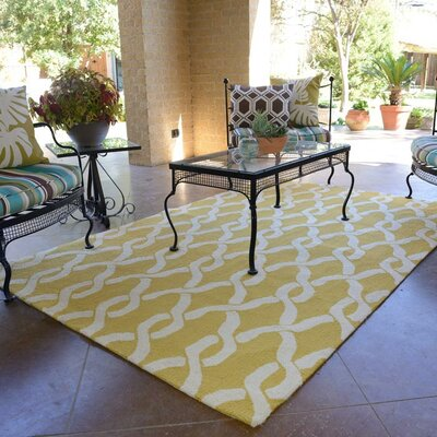 Venice Beach Hand-Hooked Goldenrod/Ivory Indoor/Outdoor Area Rug Rug Size: Rectangle 23 x 39