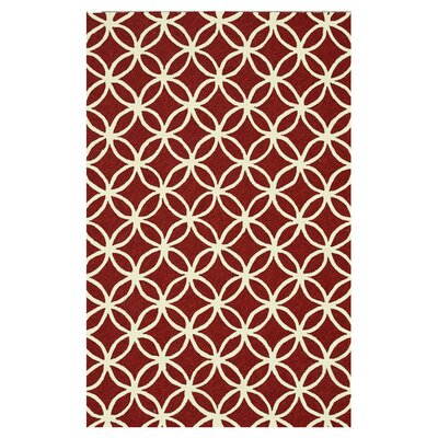 Venice Beach Hand Hooked Red/Ivory Indoor/Outdoor Area Rug Rug Size: 23 x 39