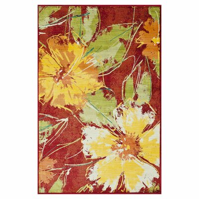 Madeline Red/Yellow Area Rug Rug Size: 77 x 105