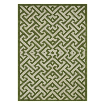 Dandridge Hand-Tufted Green/Ivory Area Rug Rug Size: Rectangle 36 x 56