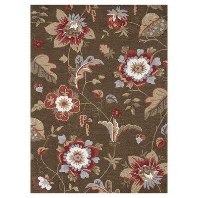 Francesca Hand-Hooked Dark Olive Floral Area Rug Rug Size: 36 x 56