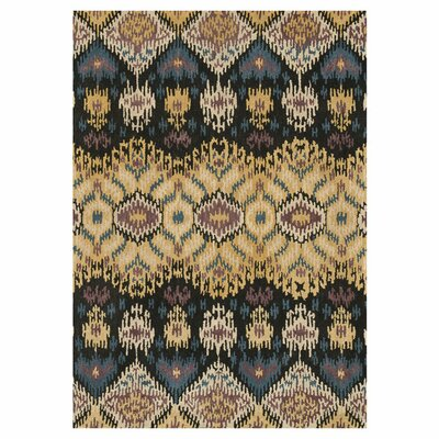Leyda Hand-Tufted Black/Light Gold Area Rug Rug Size: 36 x 56