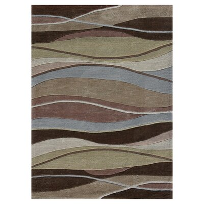 Grant Hand-Tufted Brown/Blue/Beige Area Rug Rug Size: 36 x 56