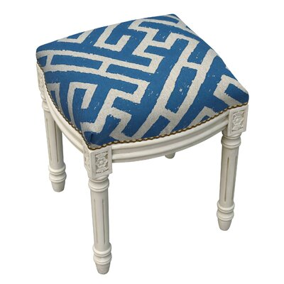 123 Creations Graphic Lattice Linen Upholstered Vanity Stool - Color: Navy