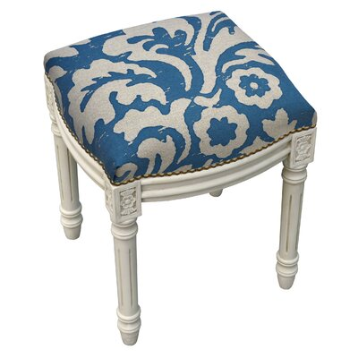 123 Creations Floral Jacobean Linen Upholstered Vanity Stool