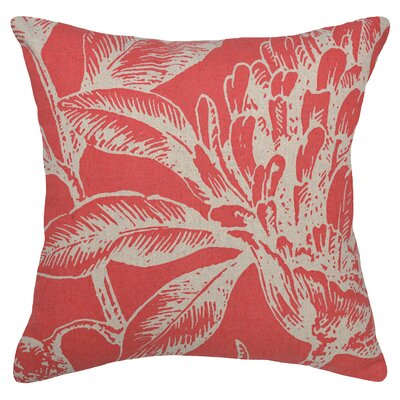 Floral Coral Botanical Linen Throw Pillow Color: Red