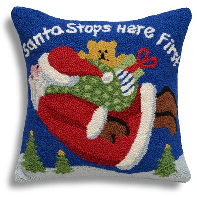 Santa Stops Here First Wool Throw Pillow