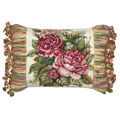 Spring Rose Needlepoint Wool Lumbar Pillow