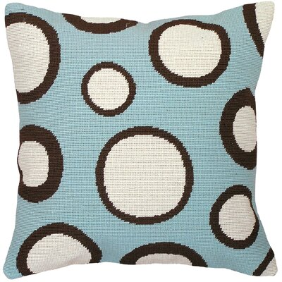 Dots Needlepoint Wool Throw Pillow Color: Blue