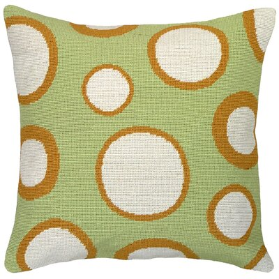 Dots Needlepoint Wool Throw Pillow Color: Green