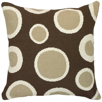 Dots Needlepoint Wool Throw Pillow Color: Brown
