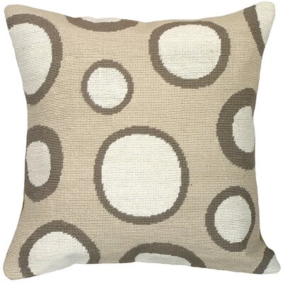 Dots Needlepoint Wool Throw Pillow Color: Tan