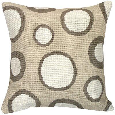 Dots Needlepoint Wool Throw Pillow Color: Tan