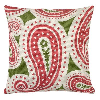 Paisley Needlepoint Wool Throw Pillow Color: Pink and Green