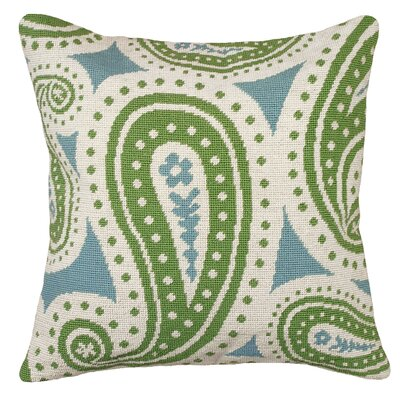 Paisley Needlepoint Wool Throw Pillow Color: Green and Blue