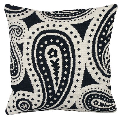 Paisley Needlepoint Wool Throw Pillow Color: Black