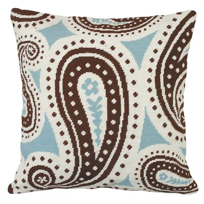 Paisley Needlepoint Wool Throw Pillow Color: Blue and Brown