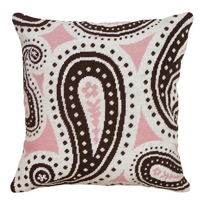 Paisley Needlepoint Wool Throw Pillow Color: Pink and Brown
