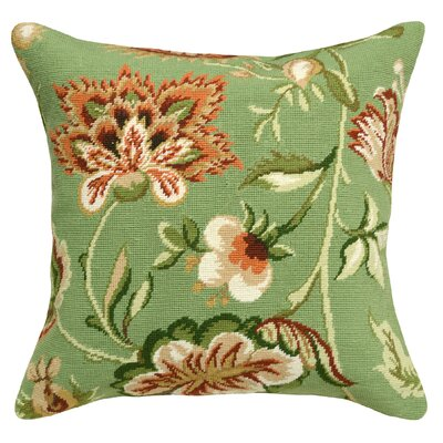 Jacobean Floral Needlepoint Wool Throw Pillow Color: Green