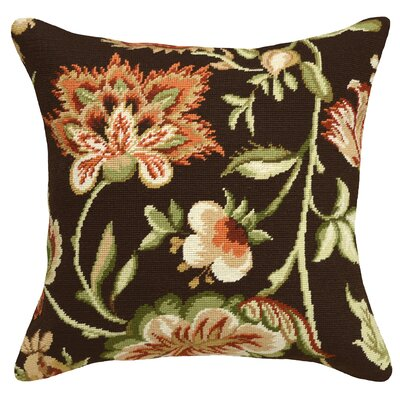 Jacobean Floral Needlepoint Wool Throw Pillow Color: Brown