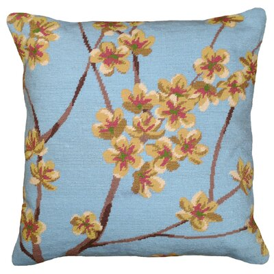 Blossom Needlepoint Wool Throw Pillow Color: Blue