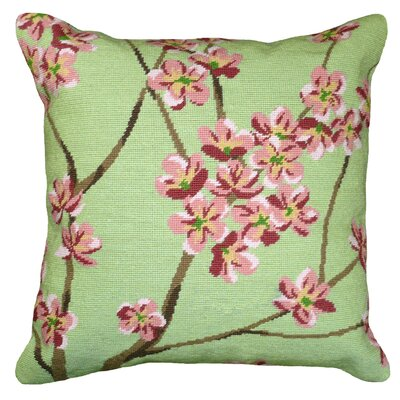 Blossom Needlepoint Wool Throw Pillow Color: Green