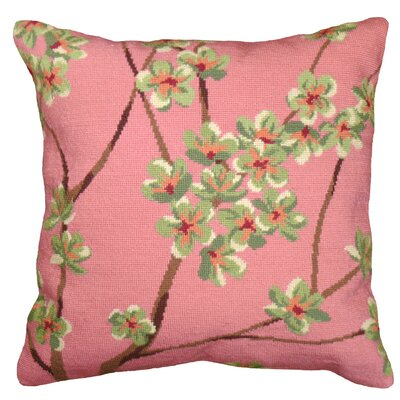 Blossom Needlepoint Wool Throw Pillow Color: Pink