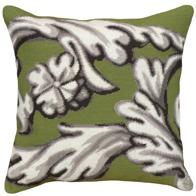Scroll Needlepoint Wool Throw Pillow Color: Green