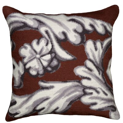 Scroll Needlepoint Wool Throw Pillow Color: Brown