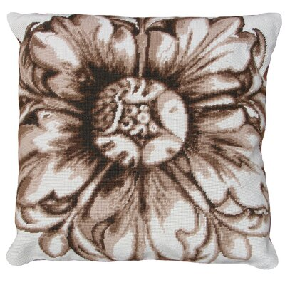Rosette Needlepoint Wool Throw Pillow