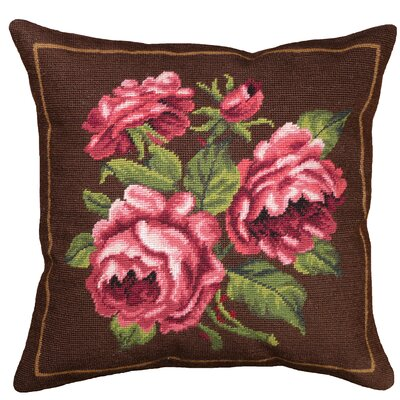 Rose Needlepoint Wool Throw Pillow