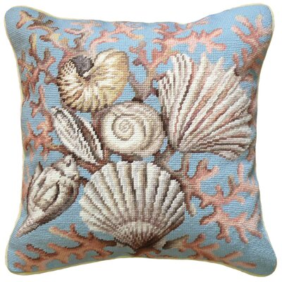 Coastal Corals and Shells Needlepoint Wool Throw Pillow