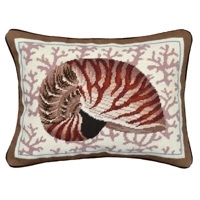 Coastal Seashell Needlepoint Wool Lumbar Pillow